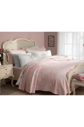 English Home Rosita Pamuklu Tek Kişilik Battaniye 150x200 Cm Pembe-beyaz