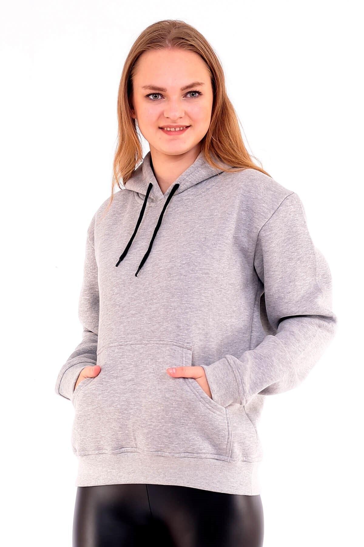 Deafox Gri Üç Iplik Kalın Kadın Sweatshirt 2