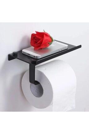 Alper Banyo Siyah Telefon Raflı Tuvalet Kağıtlığı Cep Telefonu Tutmalı Raf