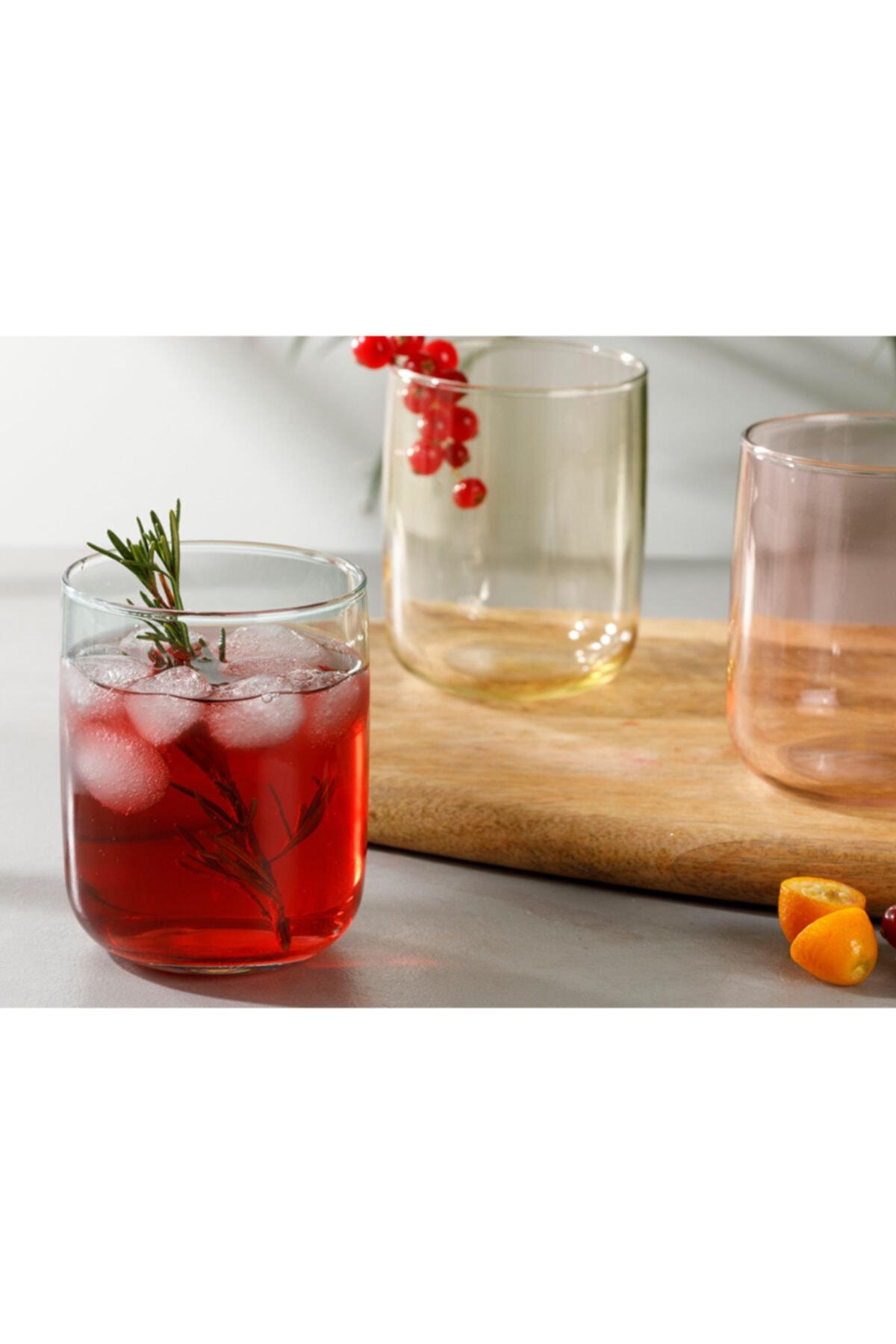 English Home Rosalinda Cam 3'lü Meşrubat Bardağı 270 ml Pembe - Sarı - Yeşil 2
