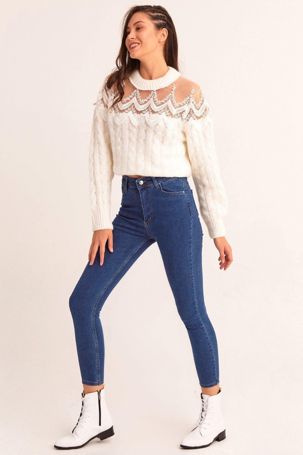 Fulla Moda Yüksek Bel Dar Paça Jean 2
