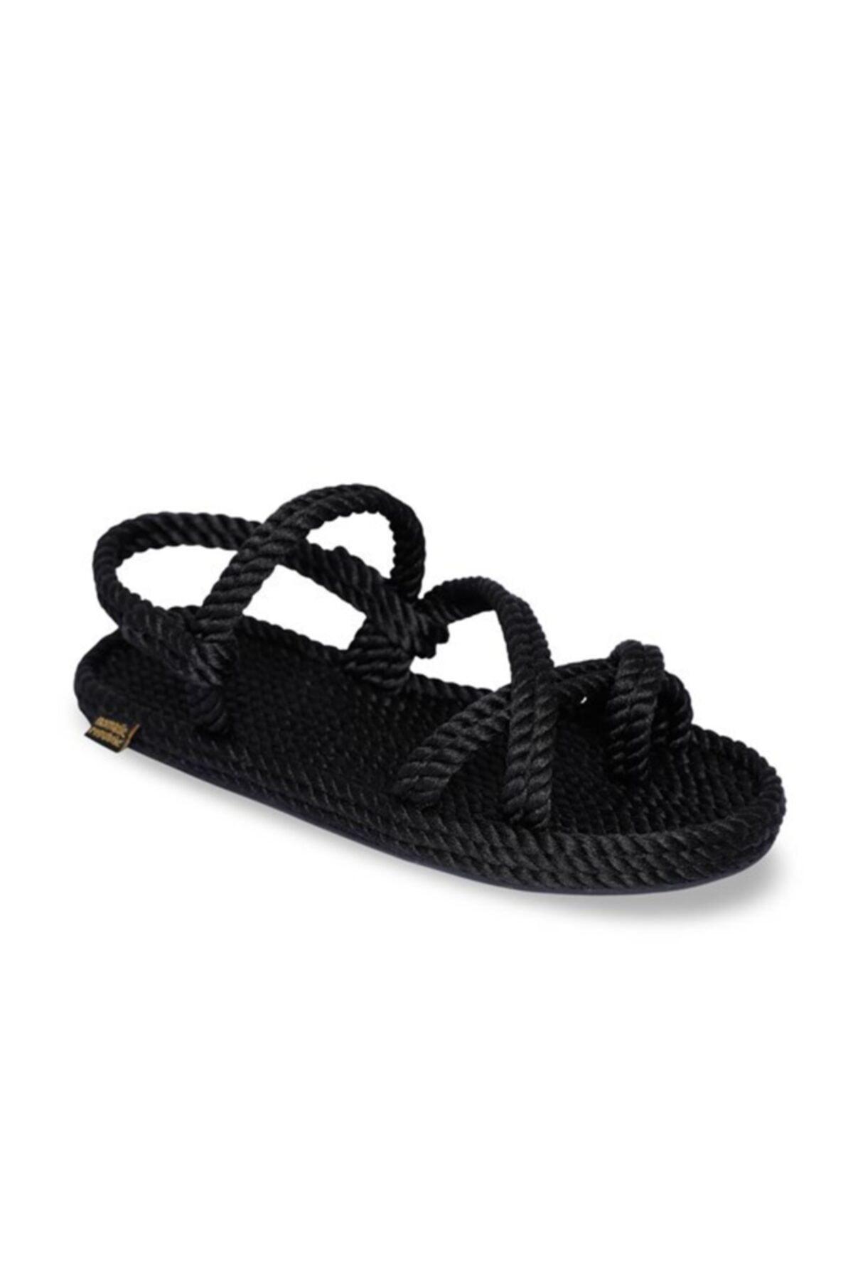 Nomadic Republic Capri Kauçuk Tabanlı Kadın Halat Sandalet Siyah 2