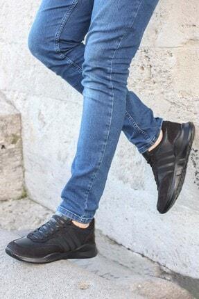 FAST STEP Hakiki Deri Siyah Nubuk Erkek Sneaker Ayakkabı 723ma101