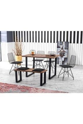 Lagom Garden Yemek Masa Takımı Mutfak Masası Cafe Masası 2 Adet Tel Sandalye 1 Adet Masa 1 Adet Bench