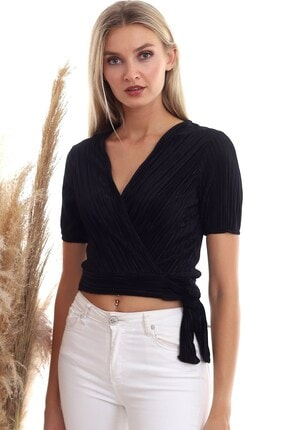 Cotton Mood 20333373 Pliseli Kruvaze Yandan Bağlamalı Kısa Kol Bluz Sıyah