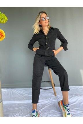 ky butikkk Kendinden Kemerli Göğüste Cep Detaylı Siyah Kot Tulum Kadın