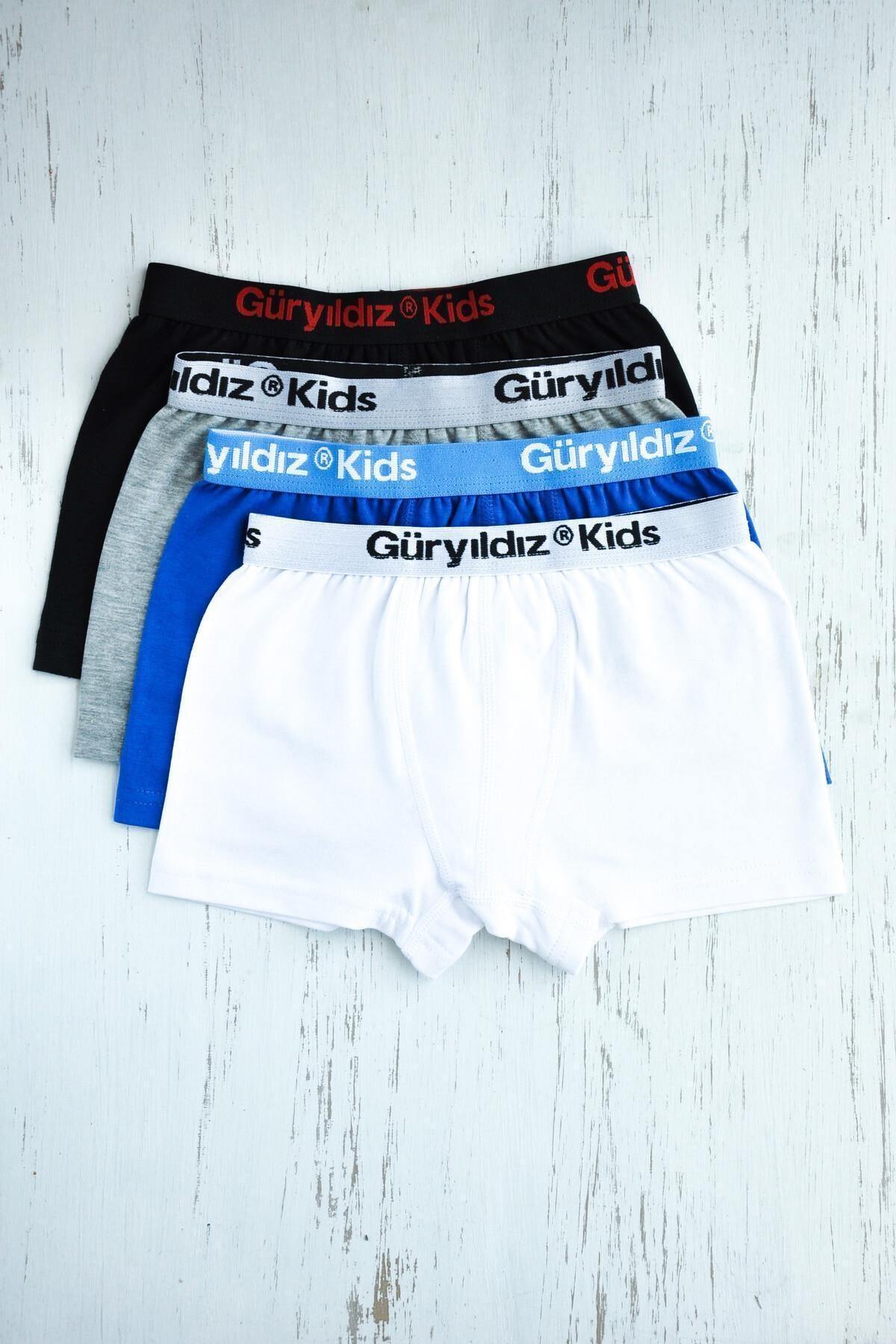 ORBİS 4'lü Erkek Çocuk Düz Likralı Boxer 28401-b4 1