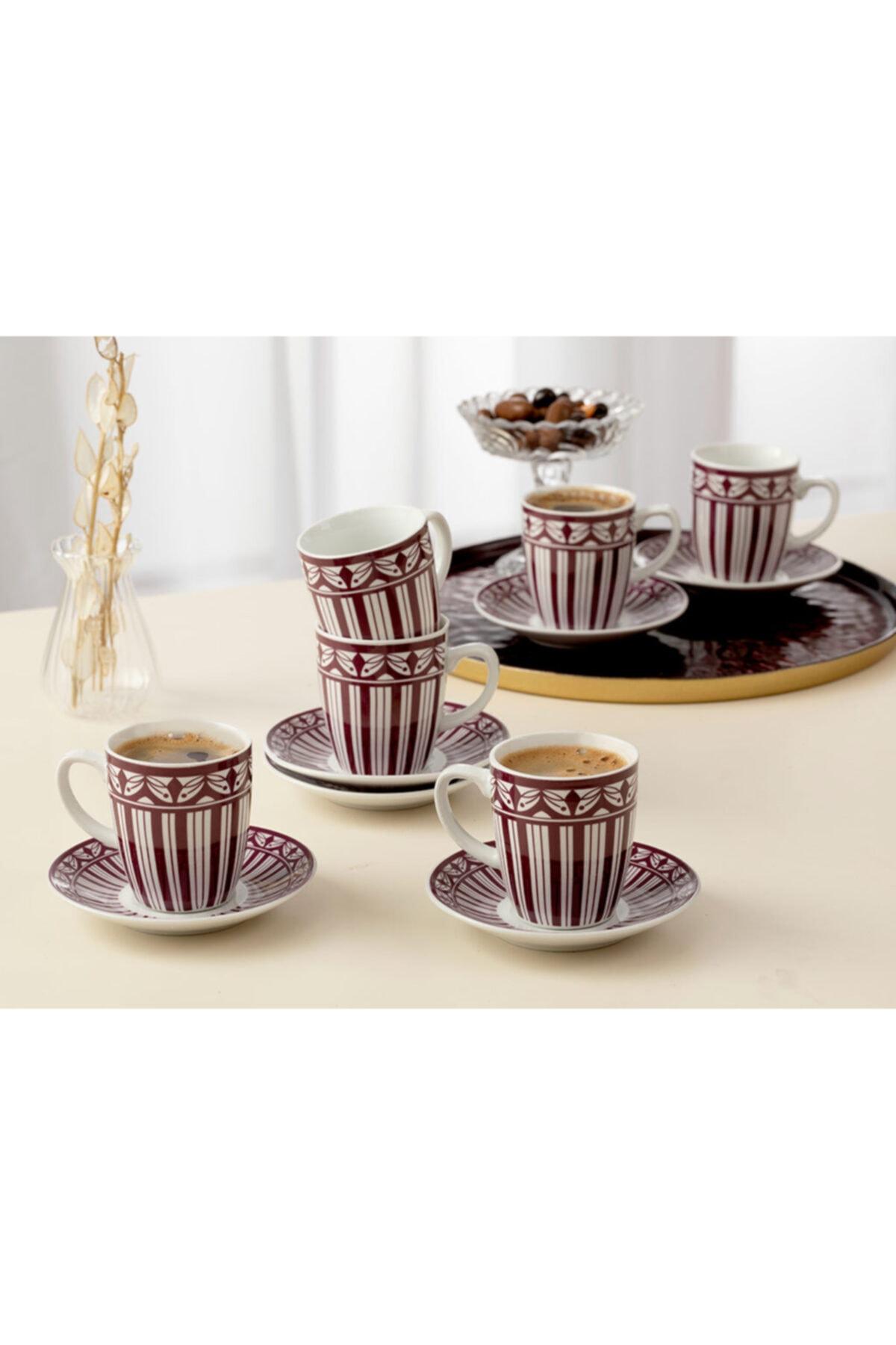English Home Galio Porselen 12 Parça Kahve Fincan Takımı 100 ml Mor 1