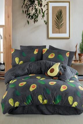 Fushia Avocado Dark %100 Pamuk Çift Kişilik Avakado Nevresim Takımı
