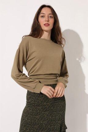 TENA MODA Kadın Bej Beli Geniş Ribanalı Sweatshirt