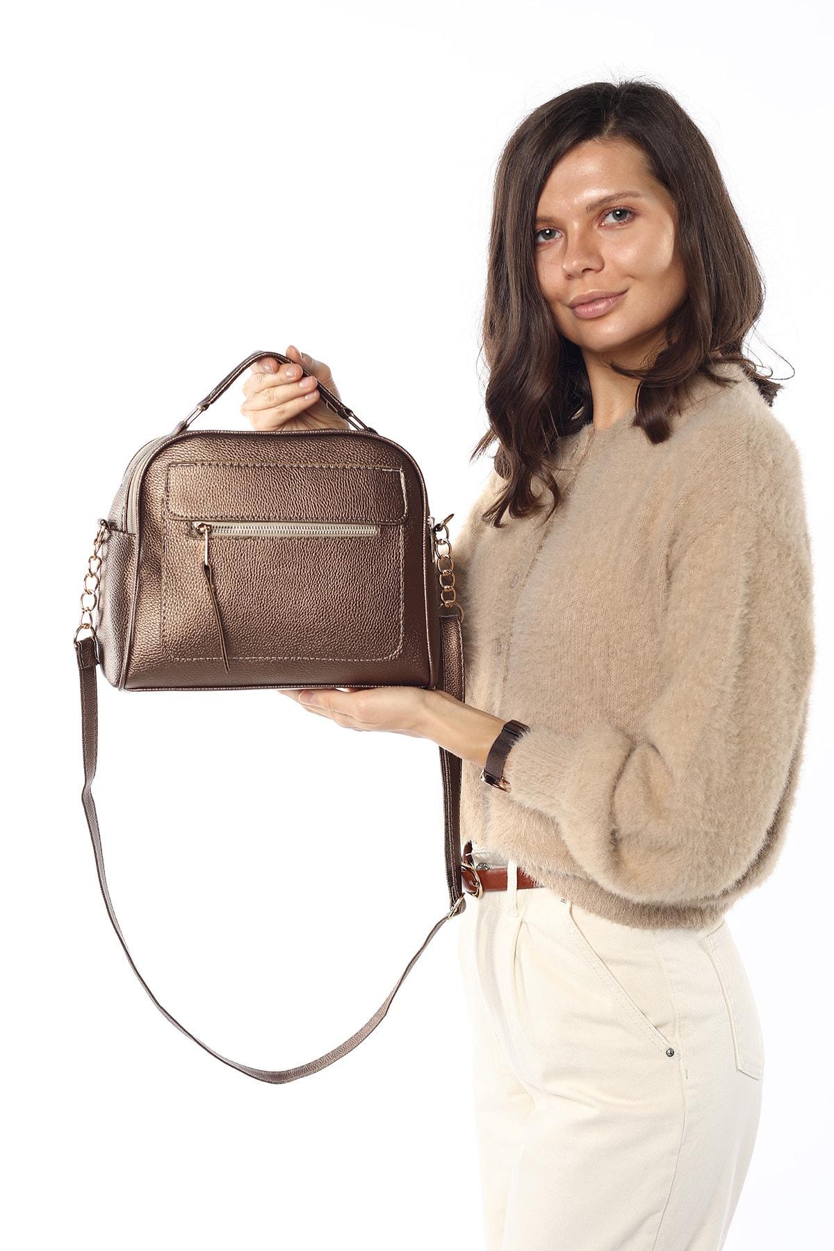 Madamra Aynı Butikte 2.Ürün 1 TL  Bakır Kadın Çok Bölmeli Omuz Çantası Çapraz Çanta ve El Çantası 2