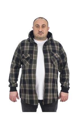 Msr Büyük Beden Erkek Fermuarlı Kapşonlu Oduncu Sweatshirt