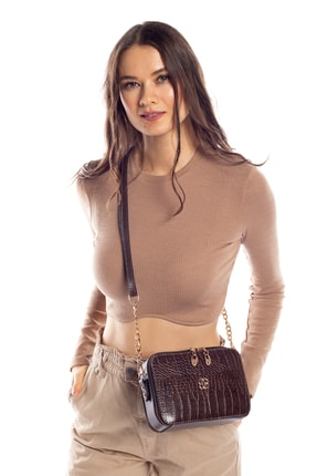 Madamra Aynı Butikte 2. Ürün 1 TL Kahverengi Kroko Kadın Kutu Zincirli Çapraz Çanta