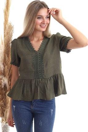 Cotton Mood 20343456 Keten Önü Güpürlü Eteği Volanlı Kısa Kol Bluz Hakı