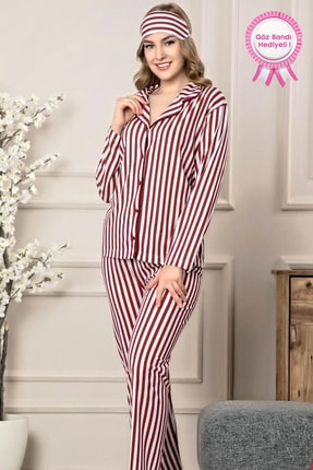 Manolya Retro Çizgili %100 Pamuk Önden Düğmeli Klasik Kadın Pijama Takımı