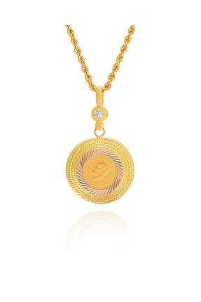 MOOM MÜCEVHERAT Kadın 14 Ayar Altın Çeyrek Altın Çerçeveli Halat Zincirle Birlikte