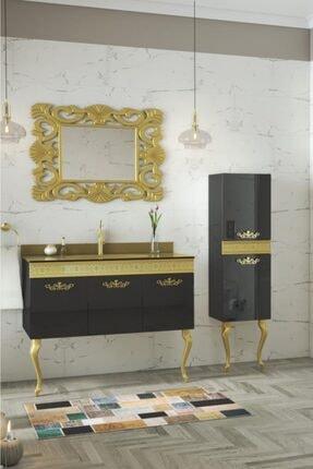 Housepack Gold Siyah 135 Cm Boy Dolaplı Cam Lavabolu Lüx Banyo Takımı
