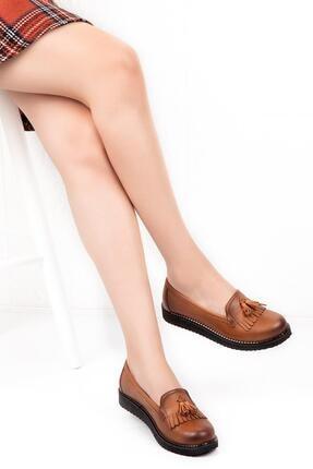 Bellacomfort Shoes Kadın Taba Hakiki Deri Püsküllü Ortopedik Ayakkabı-d103