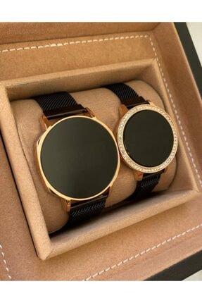 Gold Time Siyah Hasır Mıknatıslı Kordon Dokunmatik Ekran Sevgili Saatleri