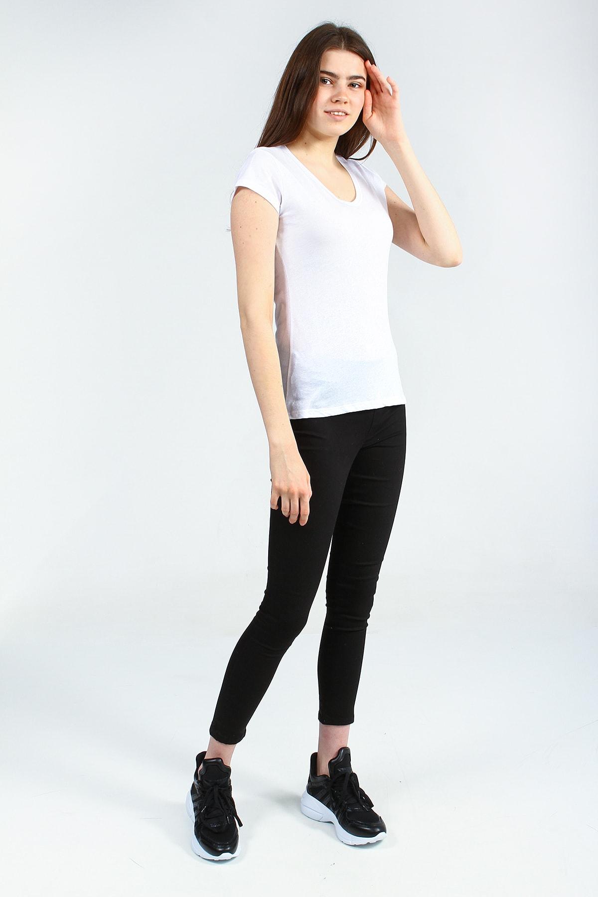 Collezione Beyaz V Yakalı Kısa Kollu Basic Kadın Tshirt 2