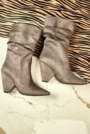 Bambi Gri Süet Kadın Çizme K0639080772