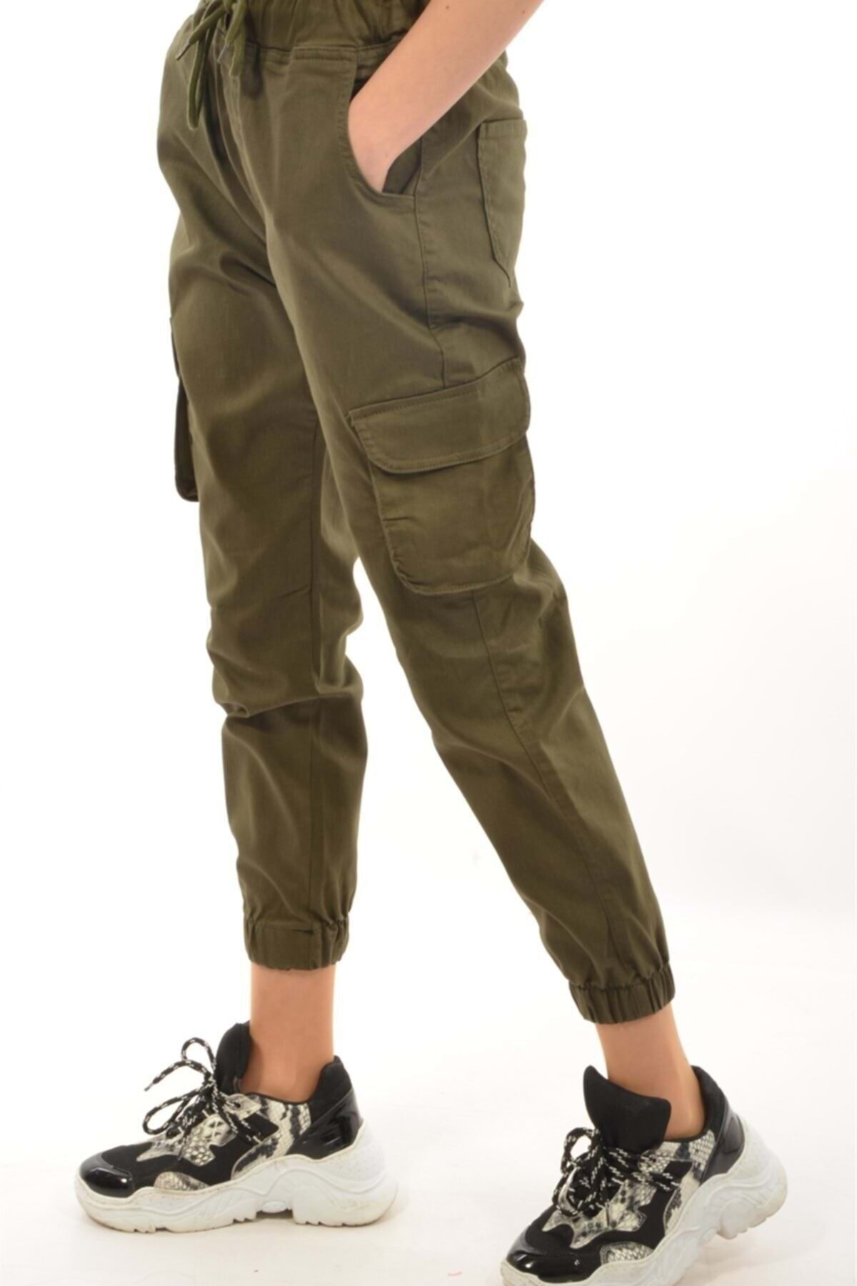 Moda Rumel Kadın Kargo Cep Pantolon - Haki 1
