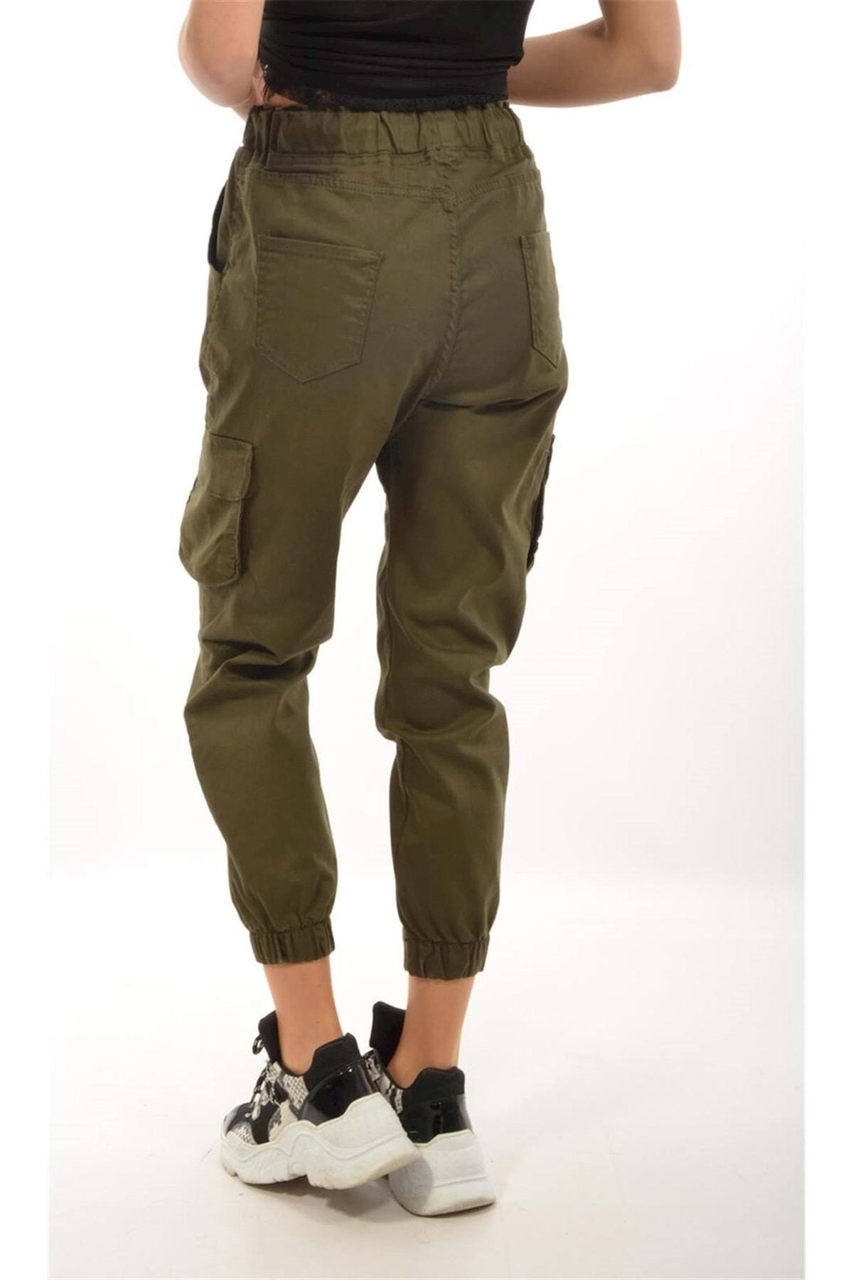 Moda Rumel Kadın Kargo Cep Pantolon - Haki 2