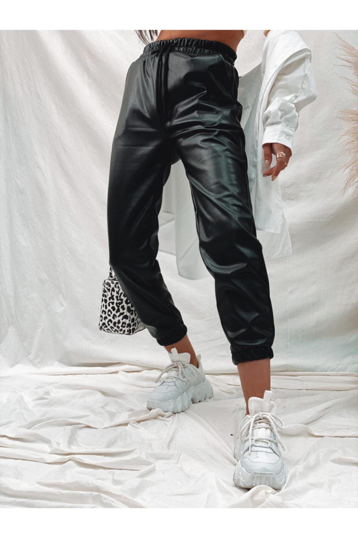 PurpuraVioleta Bel Ve Paça Lastik Deri Pantolon 1