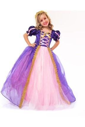 DEHAMODA Kız Çocuk Elbise Taçlı Rapunzel Kostümü - Pelerinli Taclı Tarlatanlı Rapunzel Kostüm -