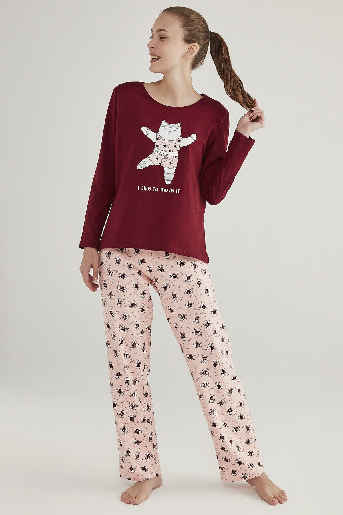 Penti Çok Renkli Gym Cat Pijama Takımı 2
