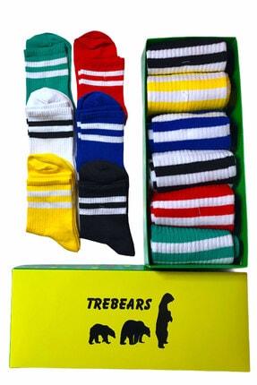 TreBears Çorap Renkli Desenli Çizgili Renkli 6 Lı Set