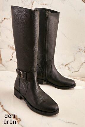Bambi Hakiki Deri Siyah Kadın Çizme K0531049303
