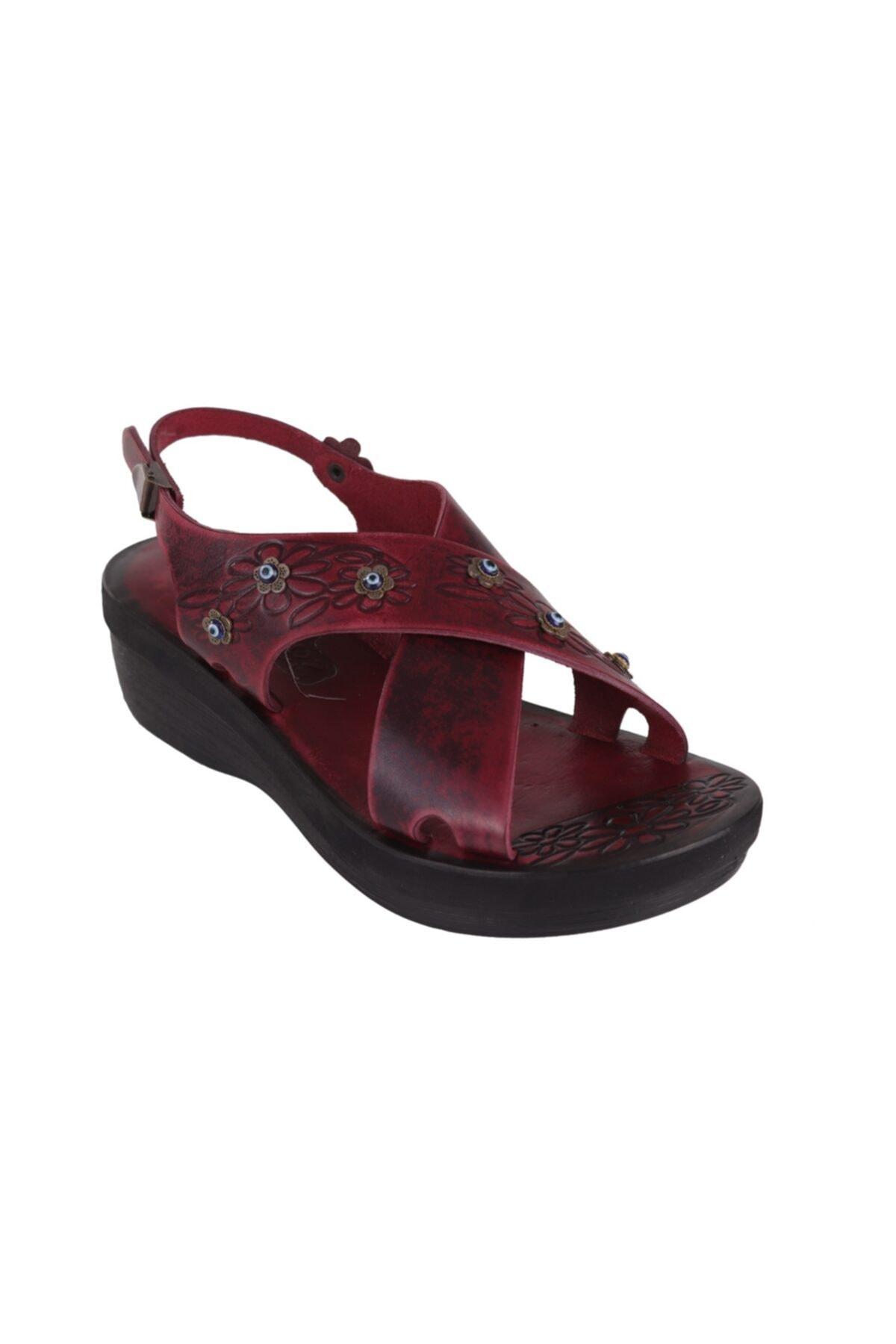 İloz Bordo Kadın Deri Bodrum Sandaleti 460827 2