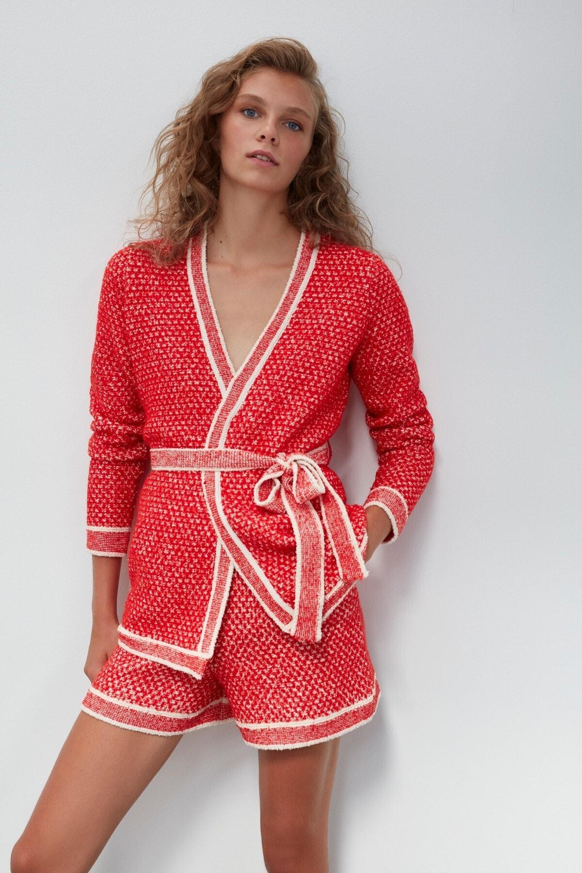 JOIN US Kuşaklı Triko Ceket-kırmızı 1