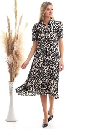 Cotton Mood 20333381 Dok.viskon Dsn. Yaka Fermuarlı Kısa Kol Kloş Elbise Hakı