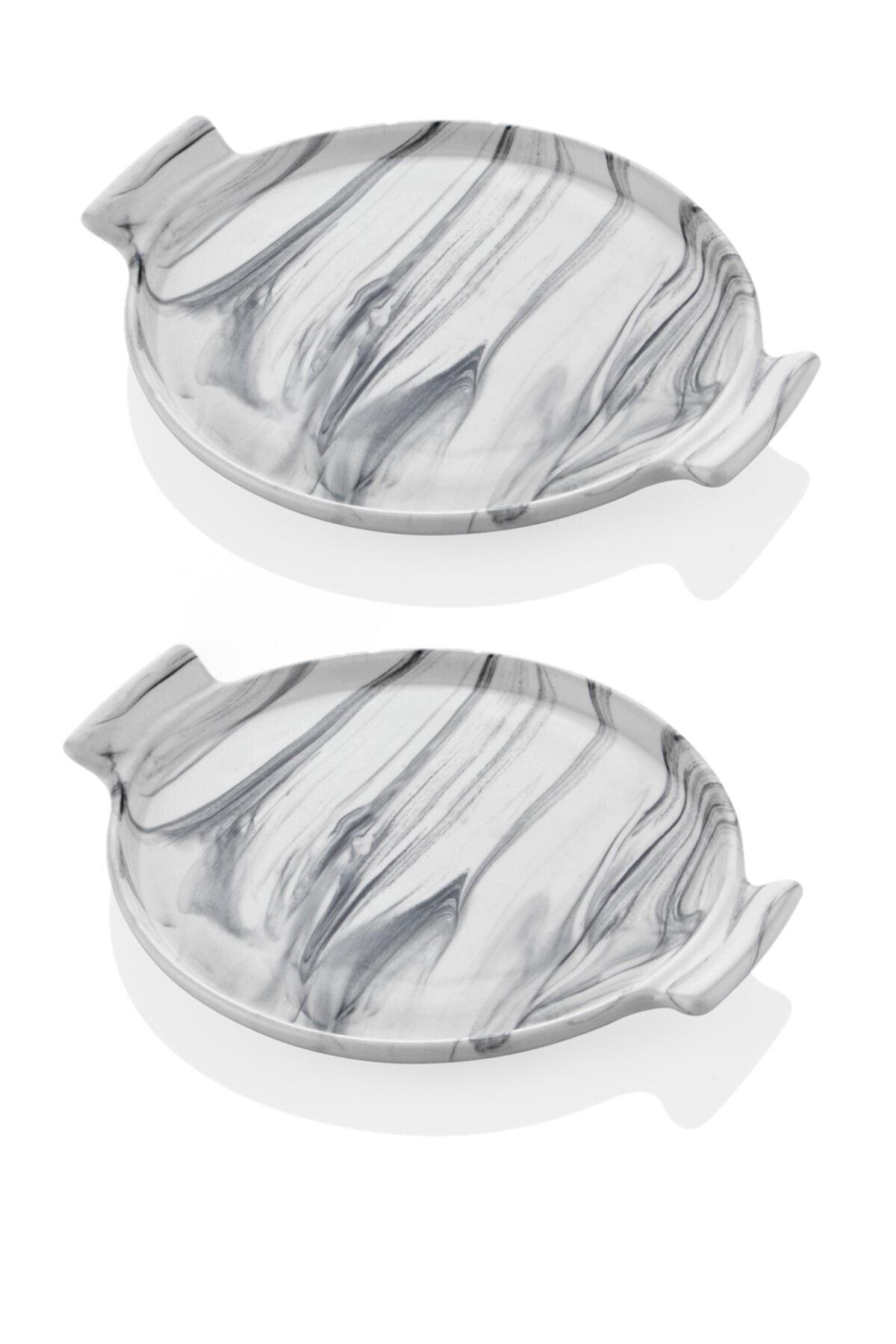 SETABIANCA Mermer Görünümlü 2li Pasta Sunum Tabağı 21 Cm 1