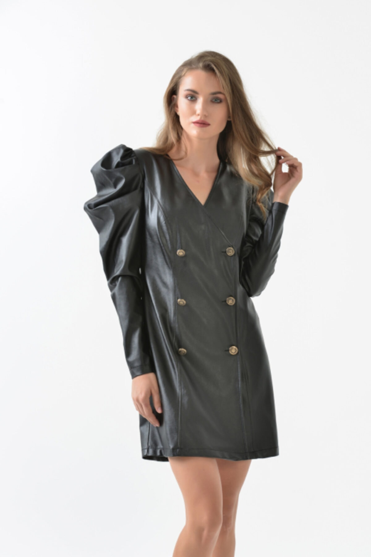 TRİOMODA Kolu Volanlı Kruvaze Deri Elbise 1