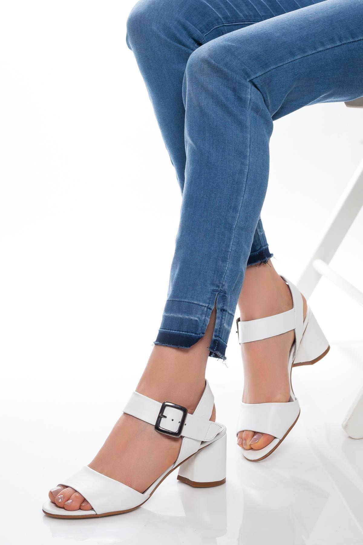 Deripabuc Hakiki Deri Beyaz Kadın Topuklu Deri Ayakkabı Shn-1937 1