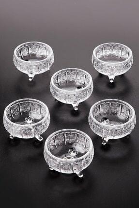 Queen's Kitchen 6 Adet Kristal Cam 3 Ayaklı Lüx Lokumluk-çerezlik