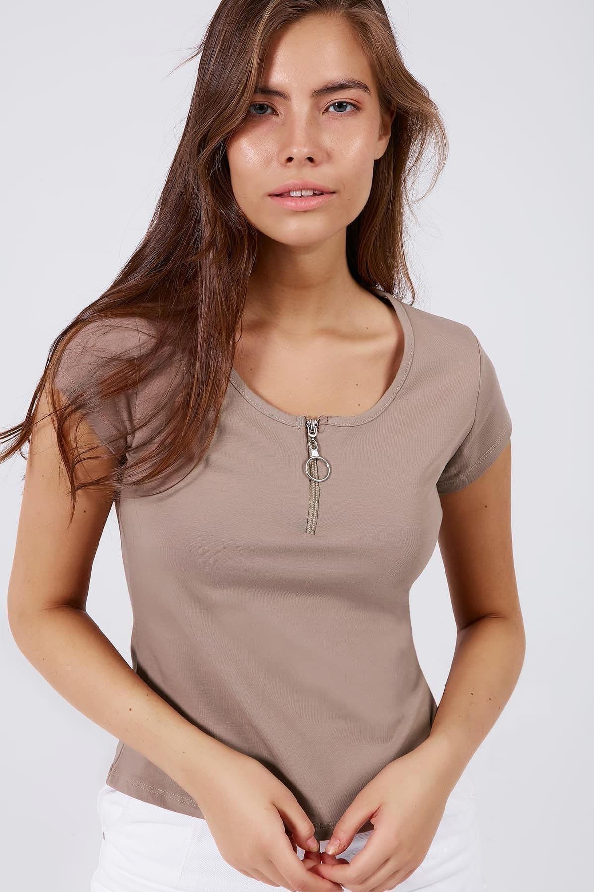 Pattaya Kadın Fermuar Detaylı Kısa Kollu Tişört Y20s126-10543 2
