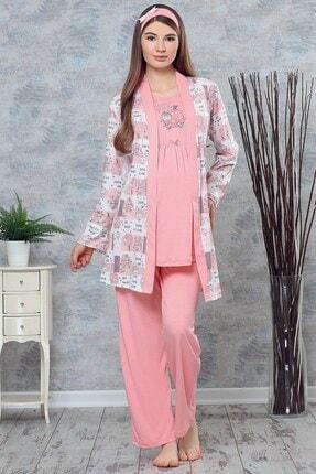 Lohusa Sepeti Haluk Bayram 3715 My Baby Somon Pembe Sabahlıklı Lohusa Pijama Takımı