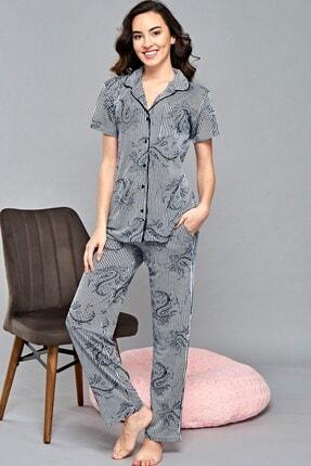 Lohusa Sepeti Desenli Çizgi Önden Düğmeli Pijama Takımı - B47005