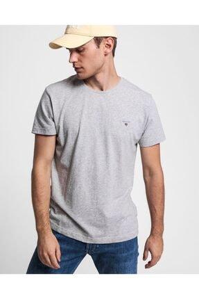 Gant Erkek Regular Fit T-shirt - Gri Melanj