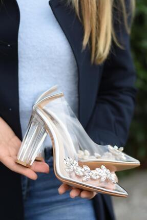 SHOEBELLAS Poop Gümüş Kadın Topuklu Ayakkabı