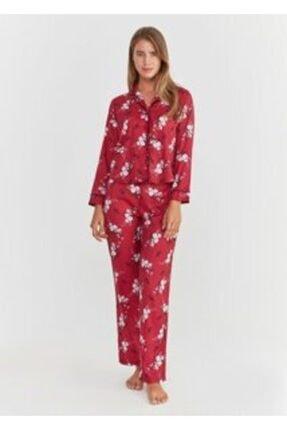 SUWEN Elegance Maskulen Pijama Takımı - Bordo Çiçek Desenli