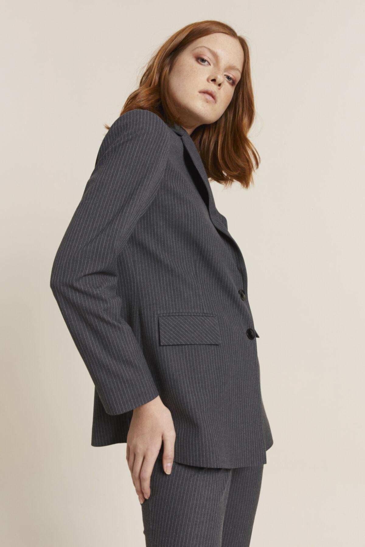 adL Kadın Antrasit Erkek Yaka Çizgili Ceket 2