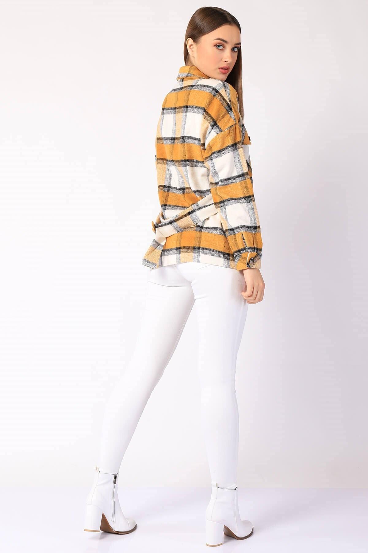 Twister Jeans Kadın Gömlek Kadın Ekose Cepli Gömlek 26927 Hardal 2