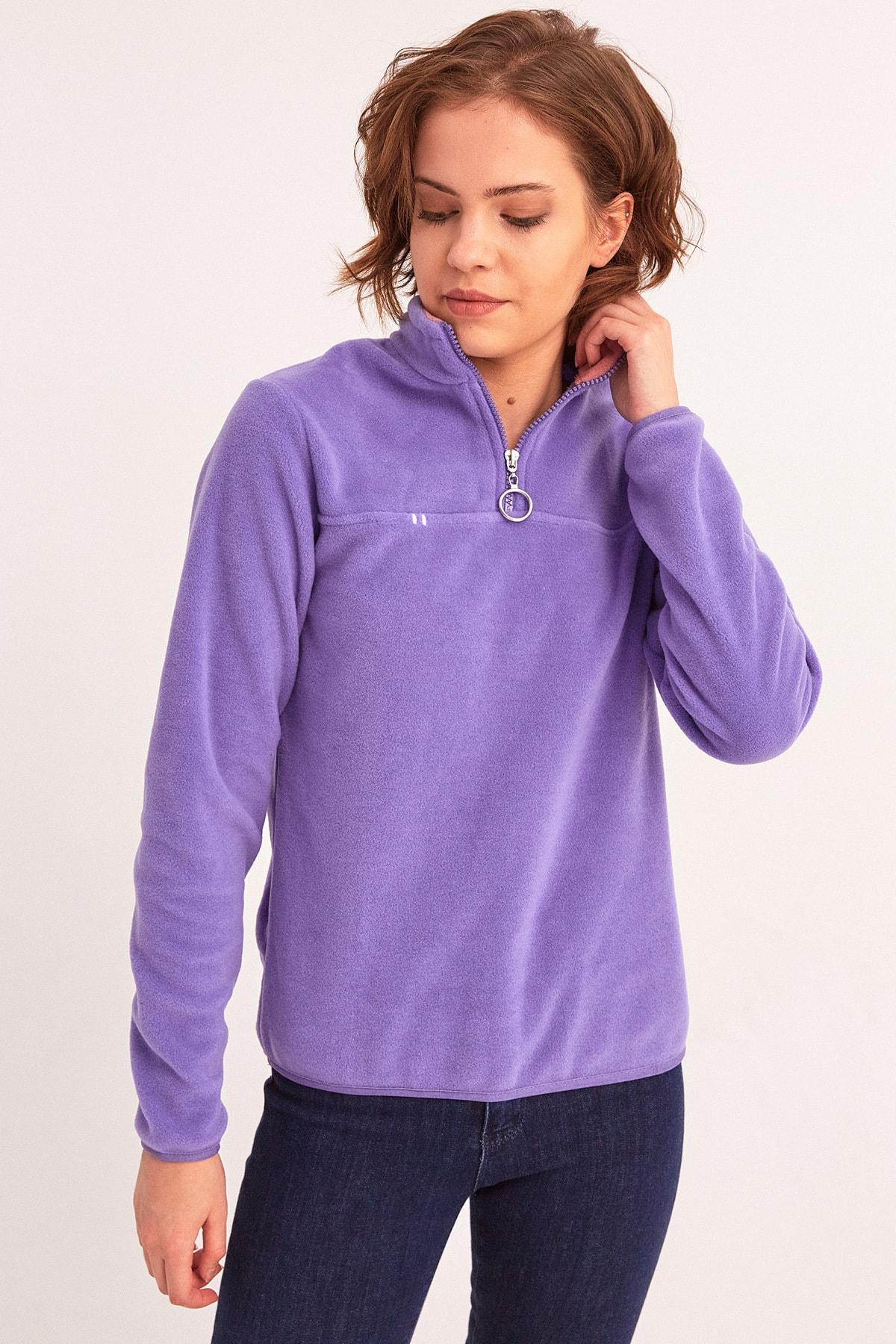 Fulla Moda Yarım Fermuarlı Polar Sweatshirt 1
