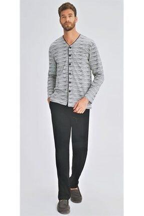 Eros 27080 Pamuklu Boydan Düğmeli Erkek Pijama Takım