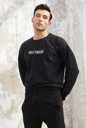 OnlyCool Erkek Üç Iplik Siyah Hollywood Baskılı Sweatshirt